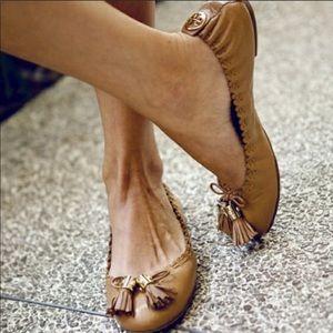Tory Burch Reese Cognac Tassel Leather Ballet Flat